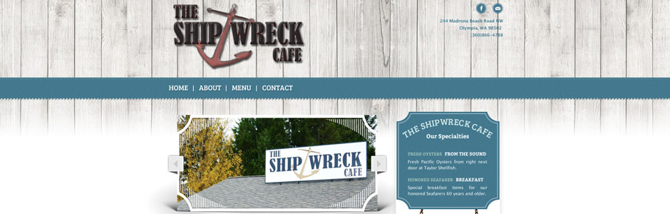 Shipwreck Cafe Website